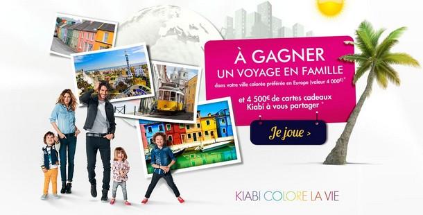 voyage en famille ou 4500 euros cartes cadeaux kiabi gagner. Black Bedroom Furniture Sets. Home Design Ideas